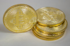 Photo Of Golden Bitcoin virtual currency coin. Royalty Free Stock Image