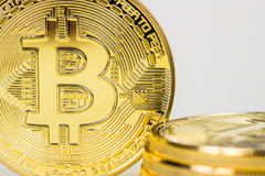 Photo Of Golden Bitcoin virtual currency coin. Stock Image