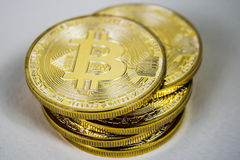 Photo Of Golden Bitcoin virtual currency coin. Stock Photo