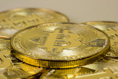 Photo Of Golden Bitcoin virtual currency coin. Stock Images