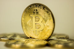Photo Of Golden Bitcoin virtual currency coin. Royalty Free Stock Images