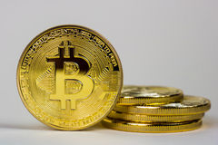 Photo Of Golden Bitcoin virtual currency coin. Royalty Free Stock Photo