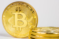 Photo Of Golden Bitcoin virtual currency coin. Royalty Free Stock Photos