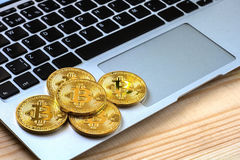 Photo Golden Bitcoins On laptop. Trading Concept Of Crypto Currency Royalty Free Stock Photos