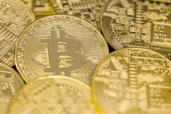 A photo of golden bitcoins Royalty Free Stock Image