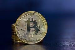 Golden bitcoins virtual money, crypto money or cryptocurrency Royalty Free Stock Photos