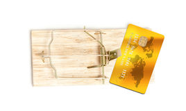Photo of golden credit card in mouse trap as bait stock image
