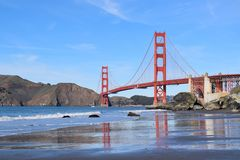 Golden Gate Bridge - Marshall`s Beach POV stock photos