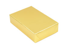 Photo of golden simple gift box Stock Image