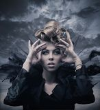 Photo of a gothic woman. Vogue style photo of a gothic woman Royalty Free Stock Photos