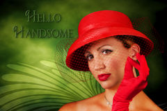 Photo/Graphic Vintage Red Hat Lady Stock Image