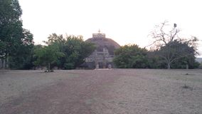 The Great Sanchi Stupa, Ancient buddhist building during sunset stock photo