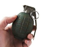 Photo of green grenade on white Royalty Free Stock Photos