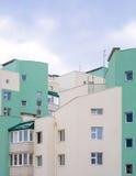 Photo of green white modern apartment building Stock Photos