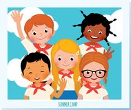 Photo group of happy children of different nationalitie Royalty Free Stock Image
