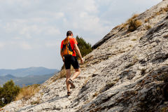 Photo of guy on mountain Royalty Free Stock Photography