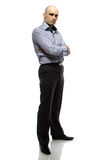 Photo of hairless business man full length. On white background royalty free stock photos