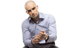 Photo of hairless business man wearing a watch Stock Photo