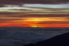 Haleakala Sunrise with colorfull sky in Maui Hawaii royalty free stock image