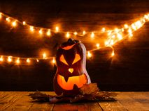 Photo of halloween pumpkin cut in shape of face Royalty Free Stock Image