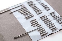 Photo of hand-sewing needles types. Close-up view. The Photo of hand-sewing needles types. Close-up view royalty free stock photo