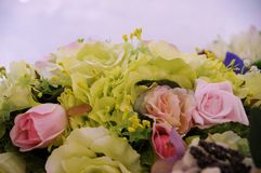 Photo of handmade bouquet. Of artificial flowers Stock Photo