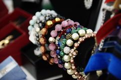 Photo of handmade bracelets. Photo of handmade different bracelets with beads Royalty Free Stock Image
