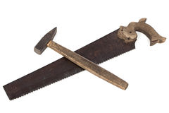 Photo of handsaw and hammer Stock Images