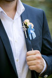 Photo of handsome groom in wearing boutonniere Stock Image