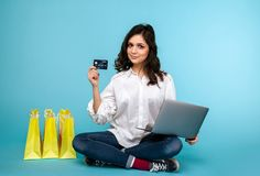 Photo of handsome woman with black credit card stock photo