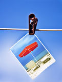Photo hanging on a rope. Vacation photo hanging on a rope Stock Photography