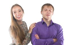Photo of happy blond woman and man Stock Photo