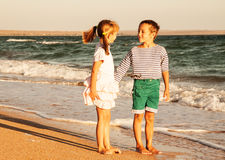 Photo of happy children on the beach Royalty Free Stock Photo