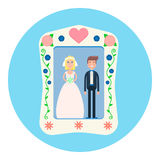 Photo of the happy couple vector. Vector illustration of a photo of a wedding couple in a frame Royalty Free Stock Photo