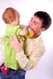 Photo of the happy father. stock images