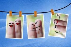 Photo happy fingers on grunge blue background Stock Image
