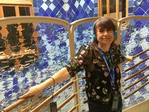 Happy Tourist at Casa Batllo stock photos