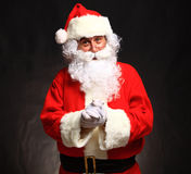 Photo of happy Santa Claus in eyeglasses Stock Photo