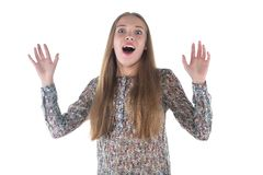 Photo of happy surprised young woman Stock Photography