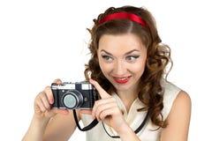 Photo of the happy woman with retro camera Stock Photos