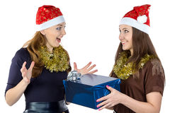 Photo of happy women with the gift Royalty Free Stock Photo