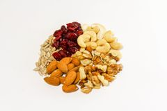 Healthy snacks, cashews, walnutrs, sunflower seeds and cranberries stock photo