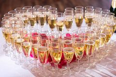 Glasses of champagne on festive table Royalty Free Stock Photo