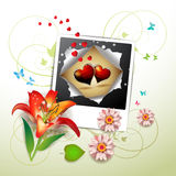 Photo with hearts Royalty Free Stock Images