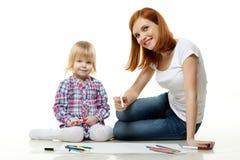 Photo heureuse de dessin de famille. Photos libres de droits