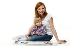 Photo heureuse de dessin de famille. Images libres de droits