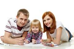 Photo heureuse de dessin de famille. Images stock