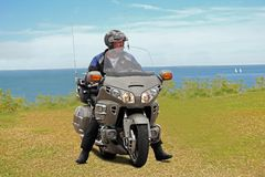 Honda goldwing motorcycle man Stock Images
