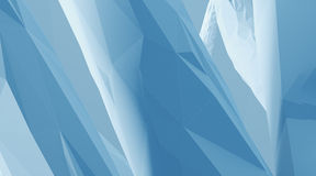 Photo of highly detailed blue color polygon. Abstract architecture background. Horizontal. 3d render Stock Photography