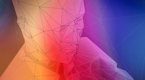 Photo of highly detailed multicolor polygon human face. Abstract architecture background. Horizontal. 3d render. Photo of highly detailed multicolor polygon Royalty Free Illustration